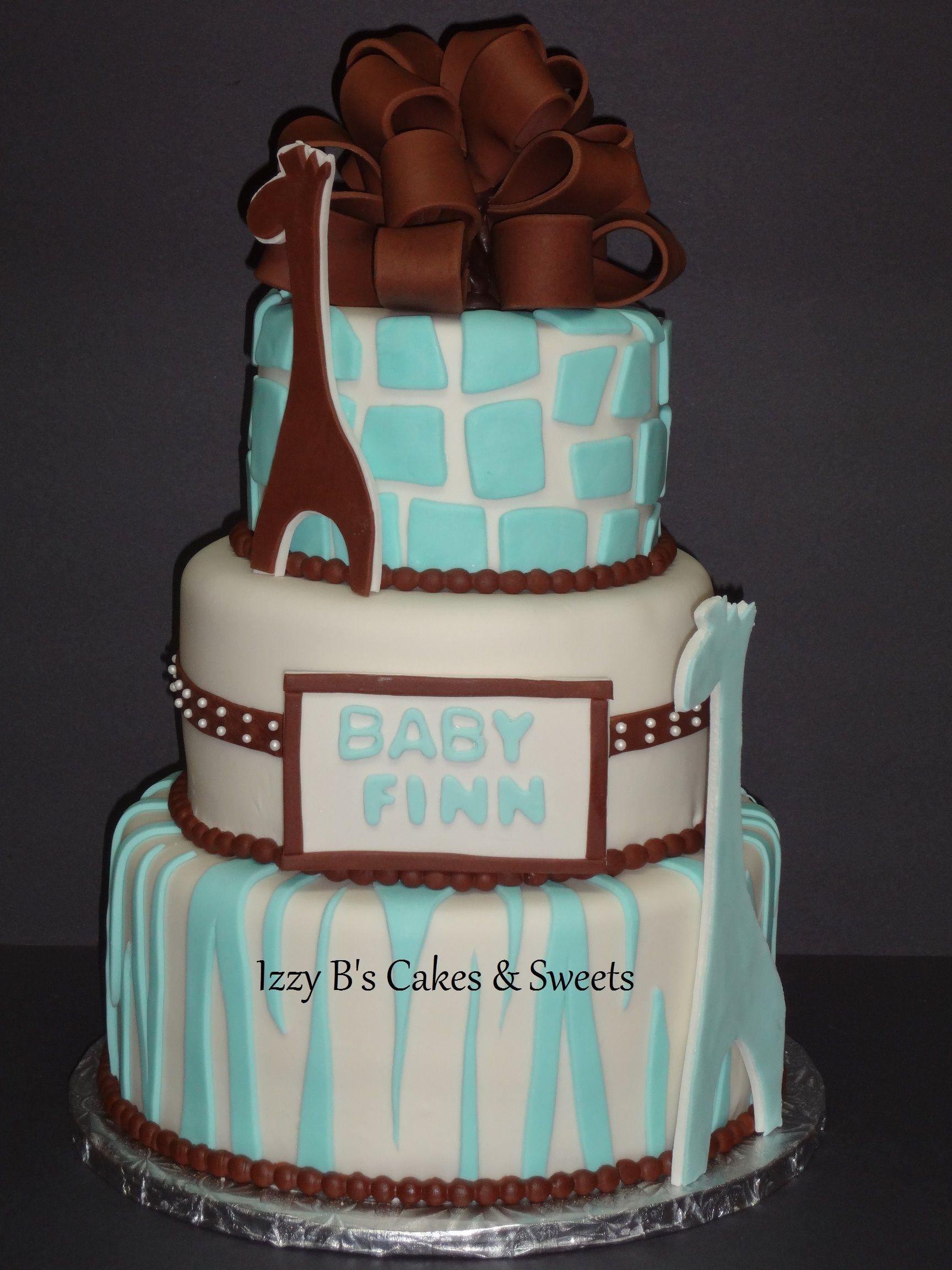 Blue & Brown Baby Shower Cake, zebra stripe and girraffe spots ...