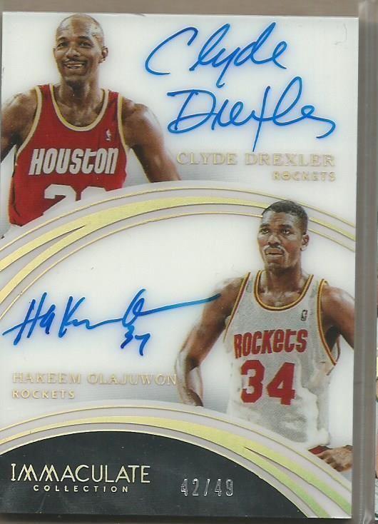 2015 16 Immaculate Acetate Clyde Drexler Hakeem Olajuwon Dual Auto 42 49 Blazers Basketball Basketball Cards Portland Trailblazers
