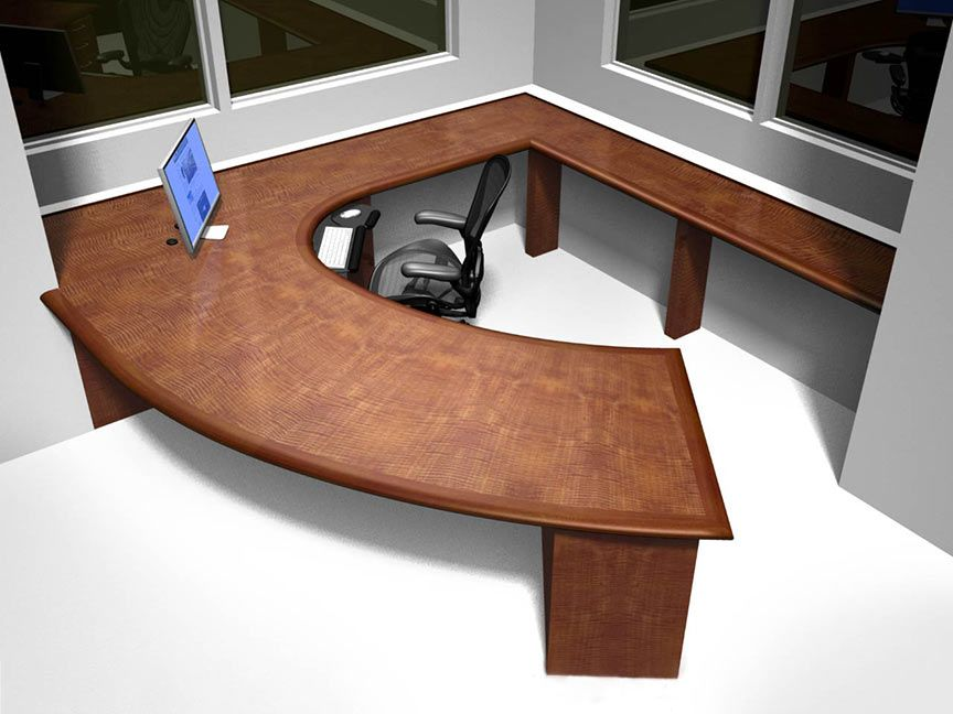 Exquist Custom Curved Wood Desk