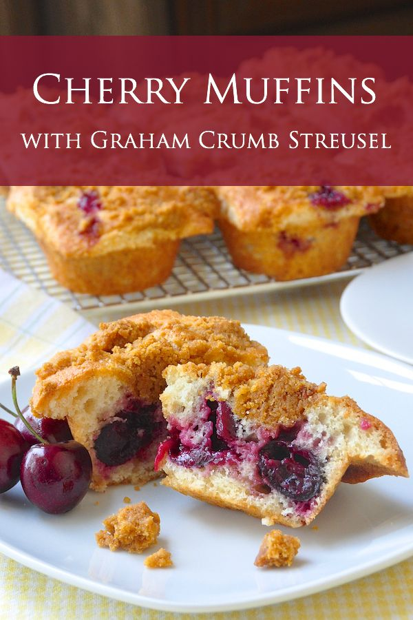 Cherry Muffins with Graham Crumb Streusel - Beautifully light vanilla and almond flavored muffins with ripe cherries at the center and a topping of crispy, buttery graham cracker crumb streusel. Delicious, impressive, and probably much easier than you think to prepare.