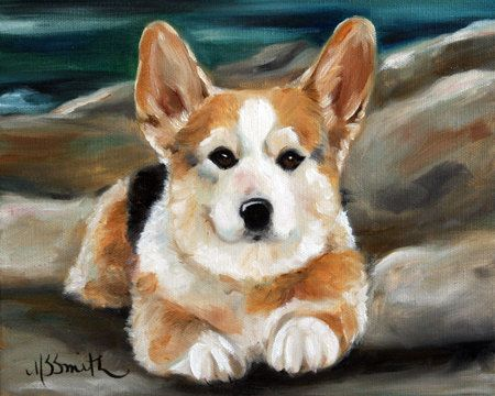 Print Pembroke Welsh Corgi Tri Color Dog Art Oil Painting Mary