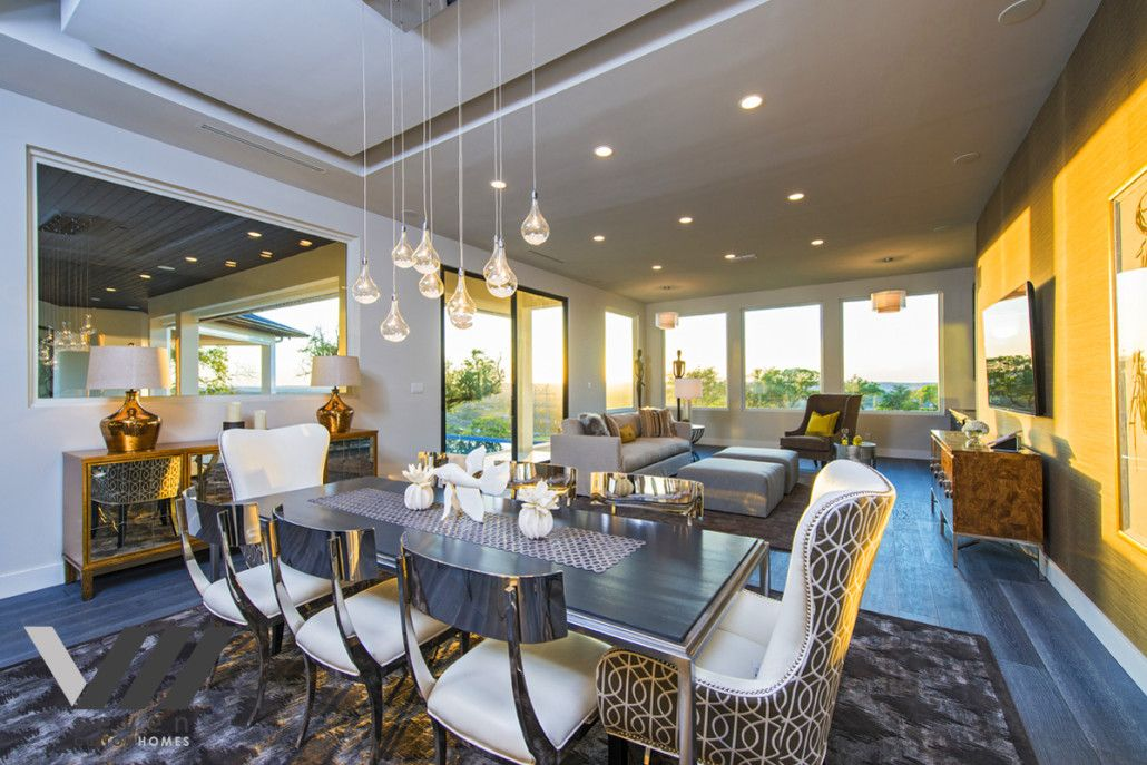 Dining room with silver Klismos dining chairs~ gorgeous!