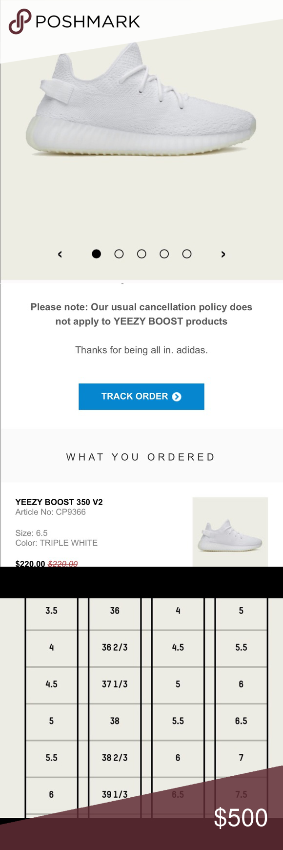 Authentic Yeezy Boost 350 V2 Triple White Size 7 5 Women S 6 In Men Per Sizing Chart Pre Order