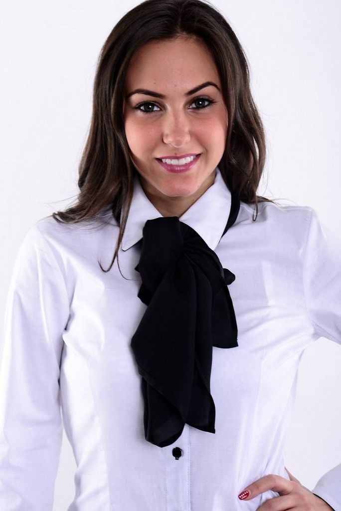 Dressed Formal For Work In White Shirt And Black Bow