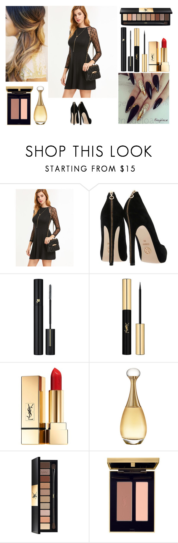 """""""Black and gold"""" by harrypotter-gurl ❤ liked on Polyvore featuring Lancôme, Yves Saint Laurent and Christian Dior"""