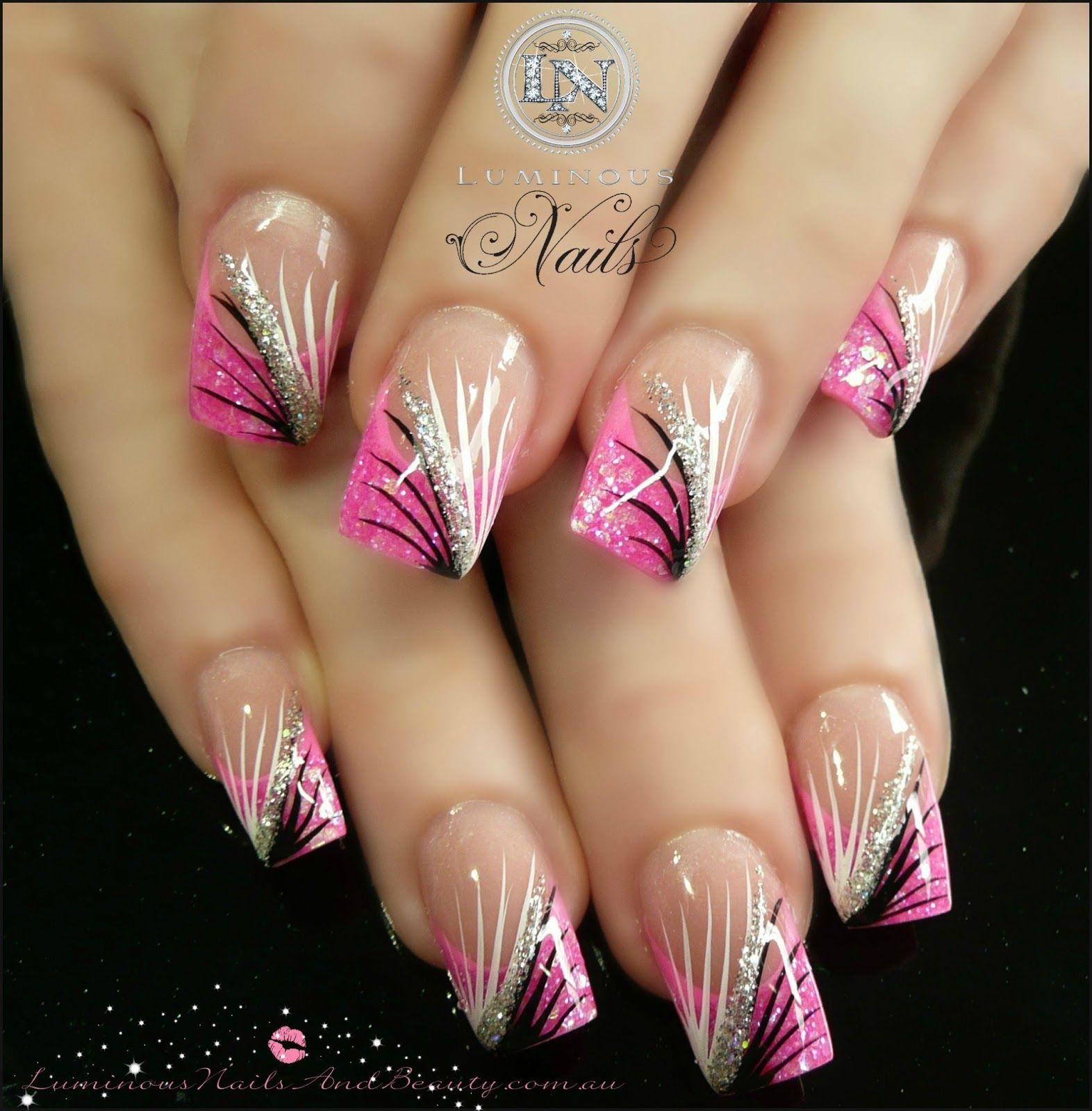 Pink White Silver Glitter Black Nail Art Design