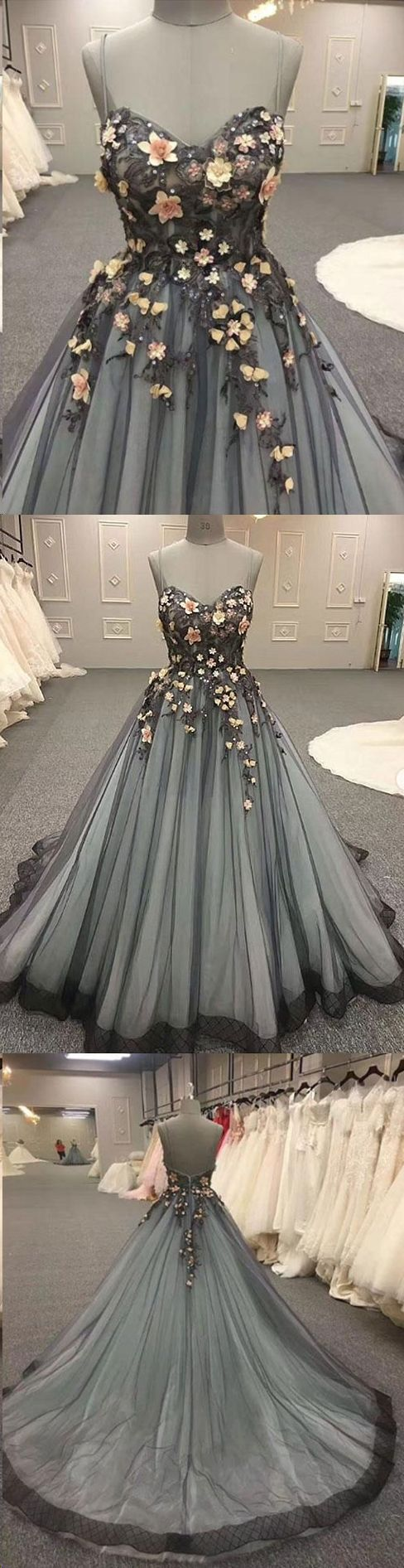 Ball gown prom dresses spaghetti straps lace prom dress long evening