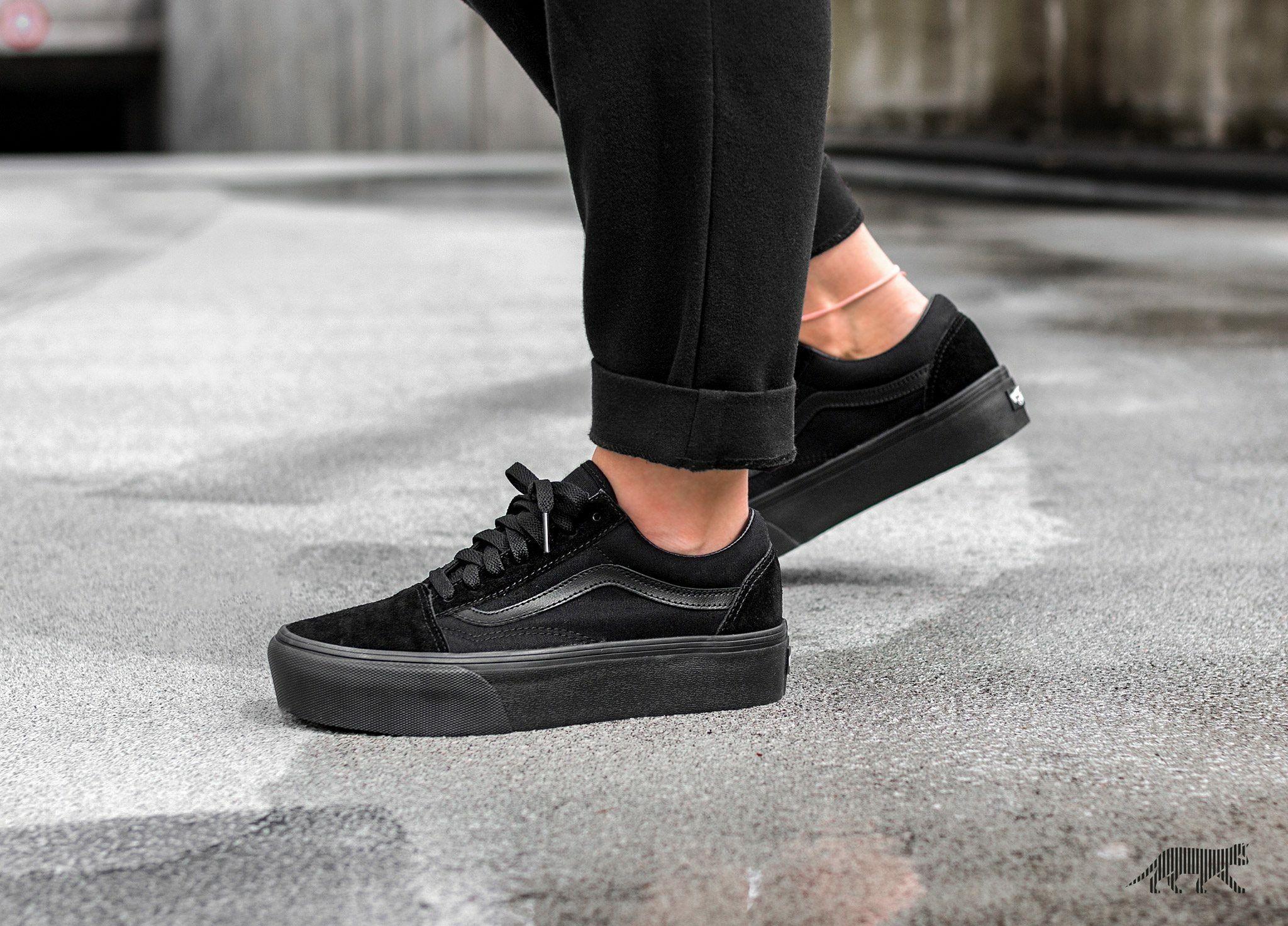 platform all black vans
