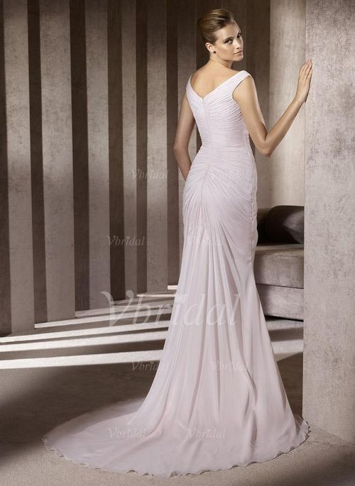 A-Line/Princess V-neck Chapel Train Chiffon Wedding Dress With Ruffle (00205001462)