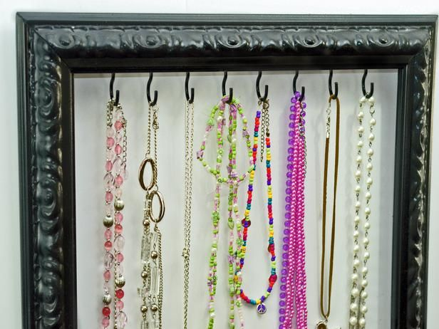 Frame Jewelry Organizer - Repurposing Everyday Items for a More Organized Home on HGTV