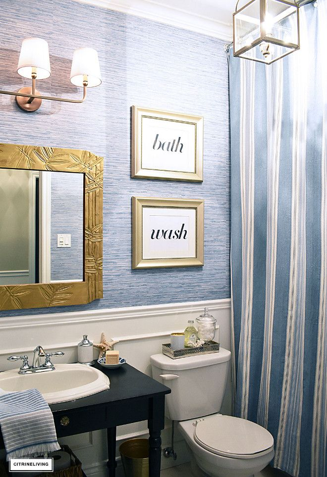 Faux Grasscloth Vinyl Wallpaper Faux Grasscloth Vinyl Wallpaper Looks And Feels Same As Real Gras Shabby Chic Bathroom Small Bathroom Makeover Trendy Bathroom