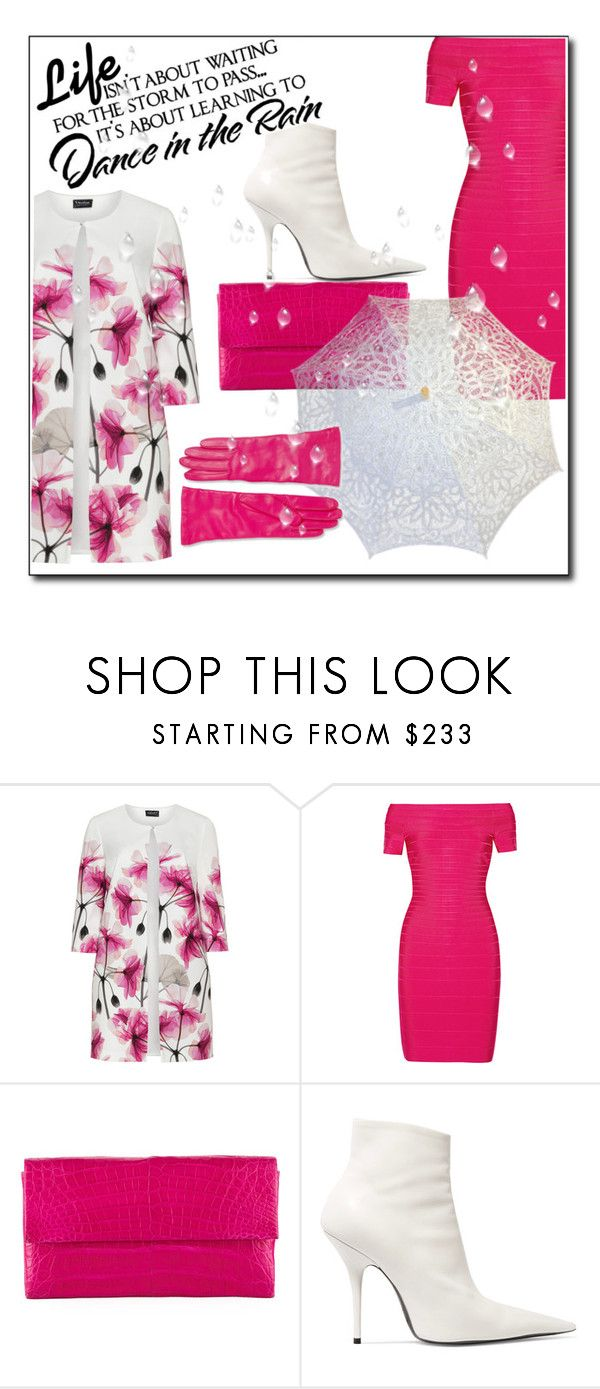 """Summer rain ☔"" by onelittleme ❤ liked on Polyvore featuring Hermann Lange, Hervé Léger, Nancy Gonzalez, Balenciaga, WALL, Saks Fifth Avenue Collection, white, floral, Pink and rain"