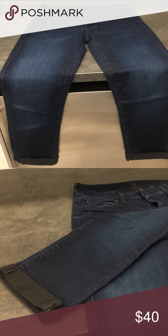 b44a2f4499e Seven for all Mankind stretch jeans Permanent cuffed bottom. Skinny crop  and roll jeans 7 For All Mankind Jeans Ankle & Cropped