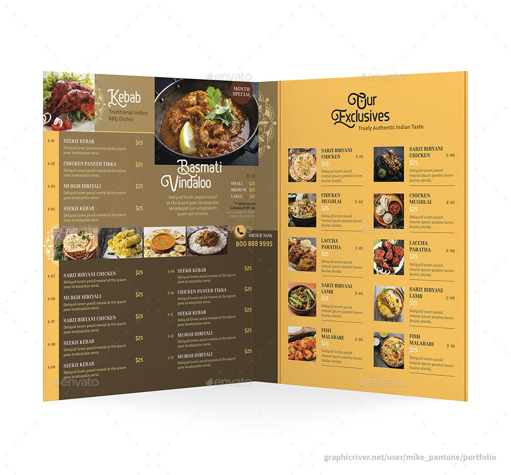 Indian Restaurant Bifold Halffold Menu 2 Menu Printing Menu Restaurant Restaurant Menu Design
