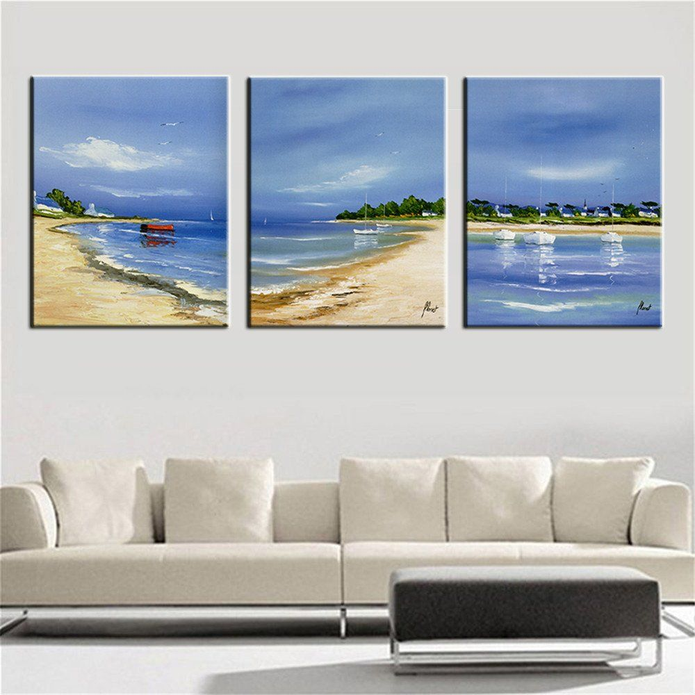 Paintings For Living Room Wall 3 Panels Paintings For Bedroom Seascape Beach Wall Decor Modern