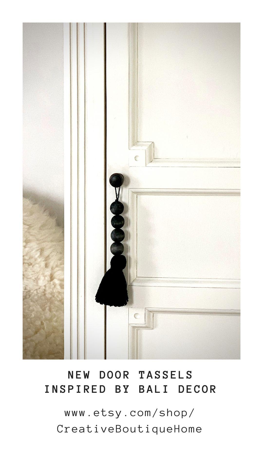 Door Knob Hanger Wood Bead and Tassel Hanger Black and White Wooden Bead Hanger