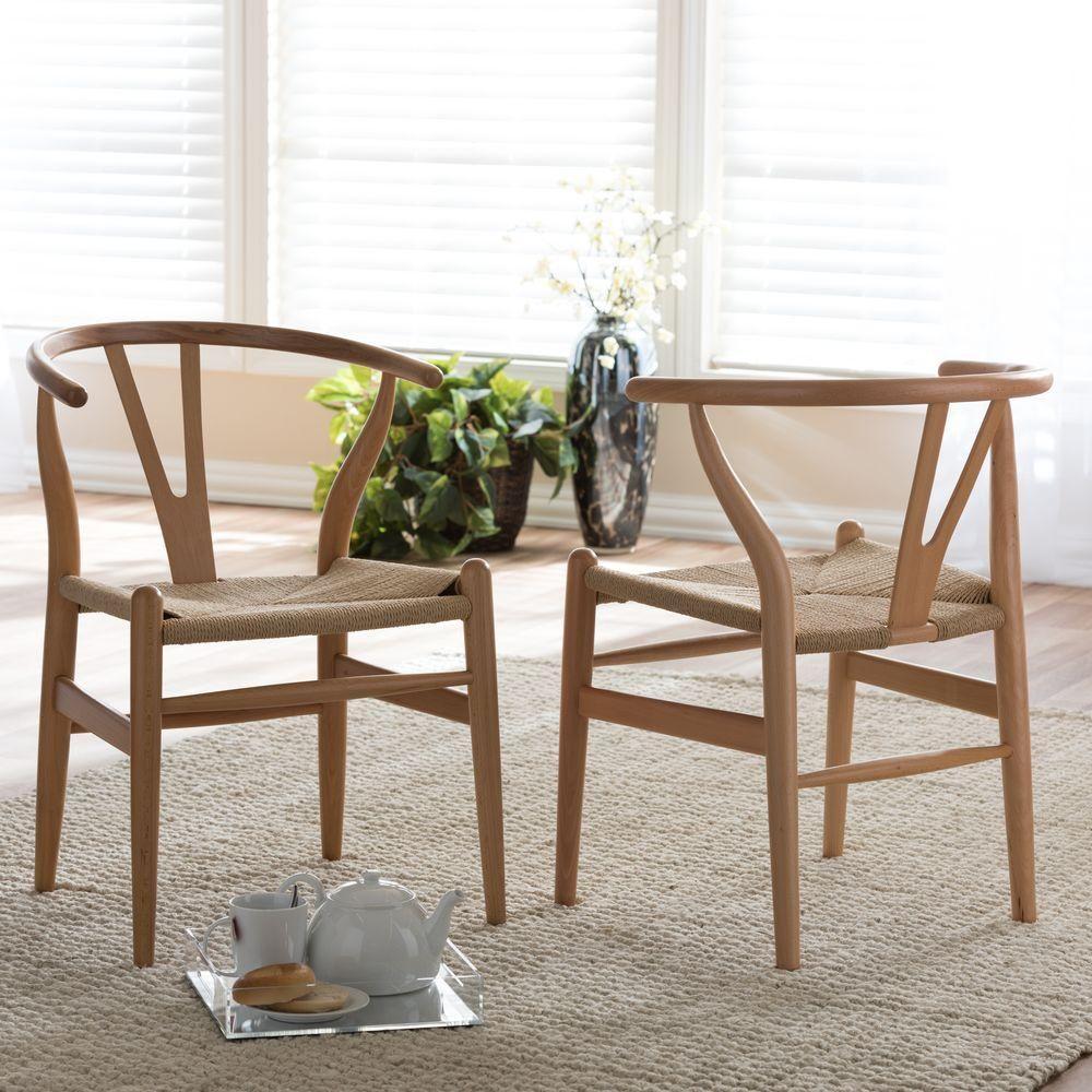 Baxton Studio Wishbone Modern Brown Wood Dining Chair With Light Brown Hemp  Seat (Dining Chair Light Brown)