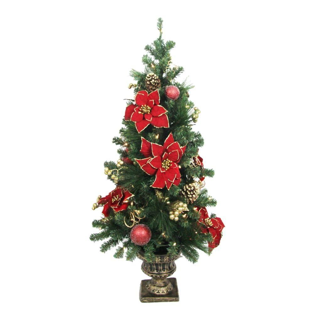 Home Accents Holiday 4 ft. Poinsettia Potted Artificial
