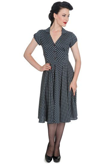 Hell Bunny Women\'s Charcoal Harriet 1940s Retro Vintage Dress (US ...
