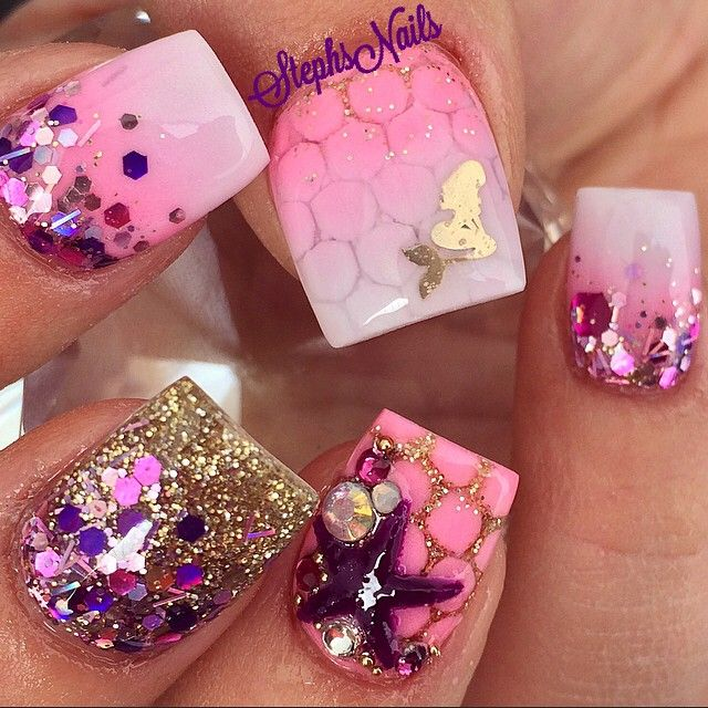 """PinkMermaid #pink#white#acrylicombre#gold#glitter#glitterombre#tripleombre#mermaidscales#love#mermaid#nails#notpolish#nails2inspire @nails2inspire"""