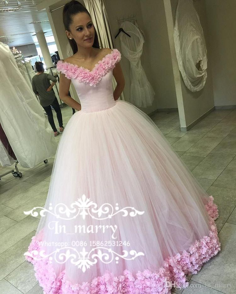 Luxury Russian Arabic Pink Flowers Prom Dresses 2017 Ball Gown Off Shouler Plus Size Sweet S Christmas Formal Evening Party Wear Gowns