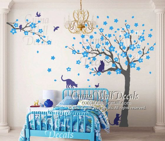 Vinyl Wall Decals Tree Wall Decals And Birds Cats Wall By Cuma - Custom vinyl wall decals cats
