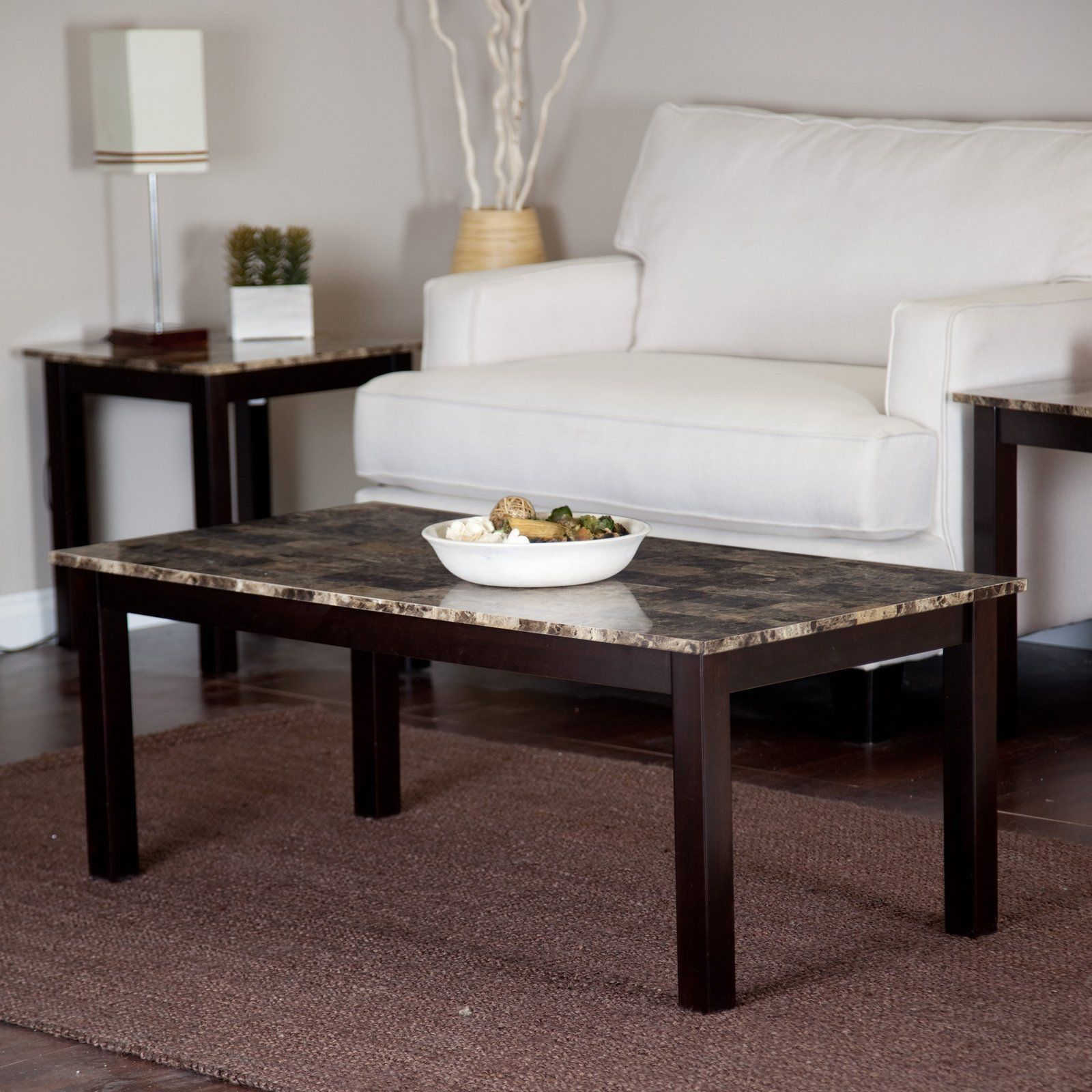 Coffee Table Faux Marble Top Living Room Decor Furniture New