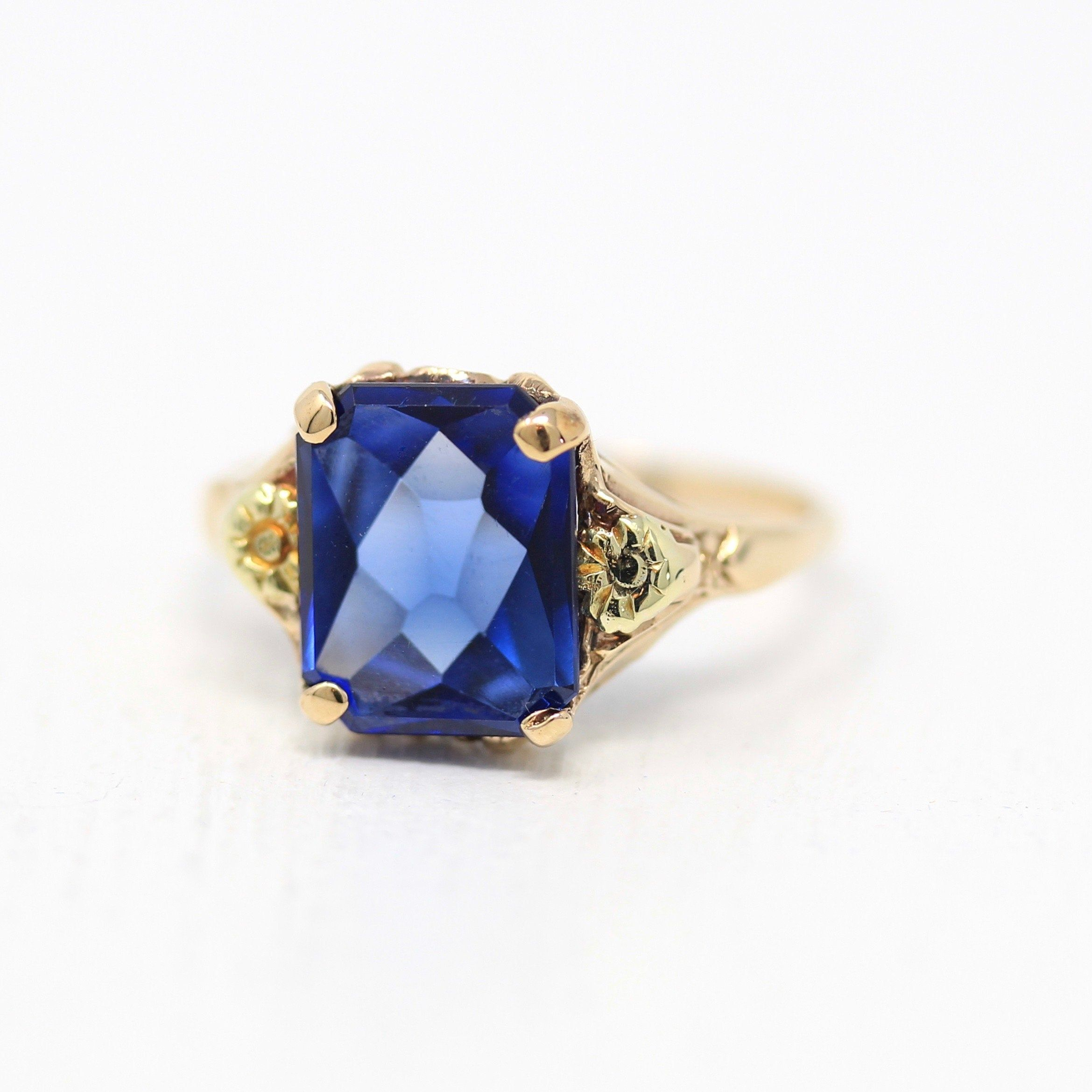 Vintage Created Sapphire Ring 10k Yellow Gold Blue September Birthstone Statement 1940s Size 6 Retro Unique Flower In 2020 Retro Jewelry Retro Ring Antique Jewelry