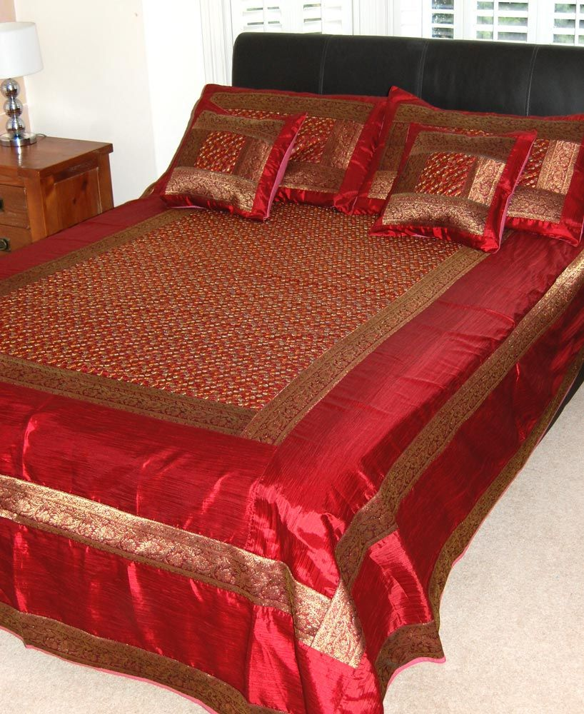 Ribbon embroidery bedspread designs - Embroidered Indian Bedspread Set In A Rich Crimson Red With A Gold Silk Brocade Border