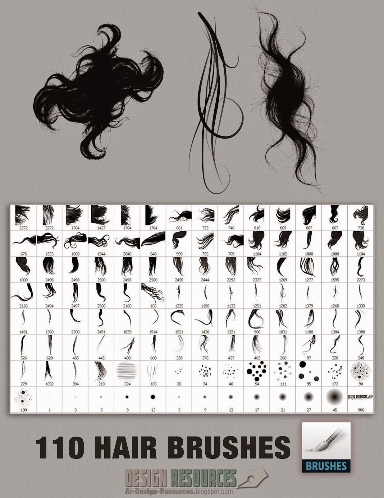 110 Hair Brushes — Photoshop Add-ons   Photography: Editing etc