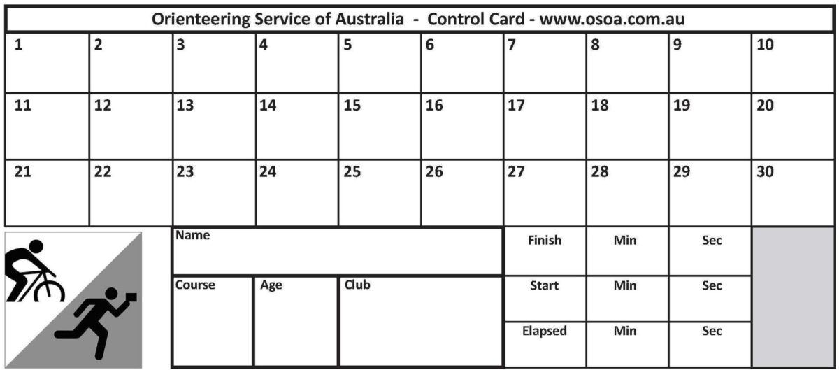 Control Cards 30 Punch Squares Pack Of 100 Throughout Orienteering Control Card Template Card Template Best Templates Template Design