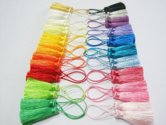 46 Pieces Short Silk Tassel,20 colors Mini Tassel, Colorful Tassel, Rainbow Tassel, Accessories, Wholesale Tassels, tassel earring, bracelet...