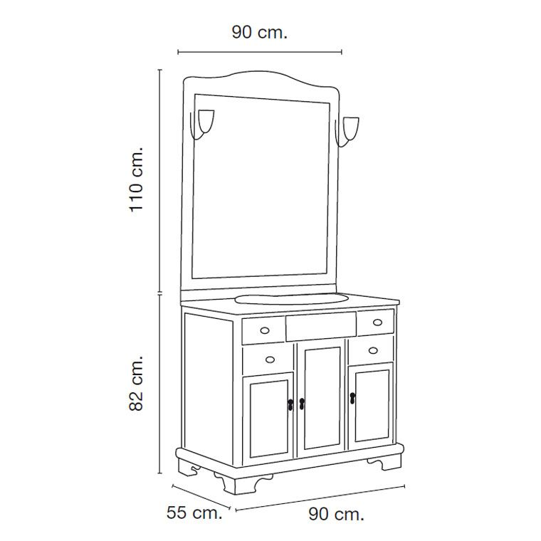 Medidas mueble de ba o lis 90 x 55 cm arquitectura y maquetas muebles de ba o ba os y muebles - Medidas muebles de bano ...