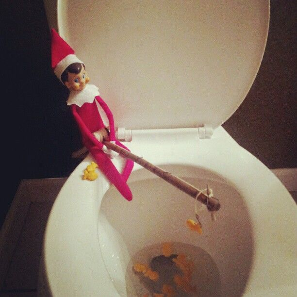 Elf on a shelf fishing in the toilet elf on a shelf for Elf on the shelf fishing