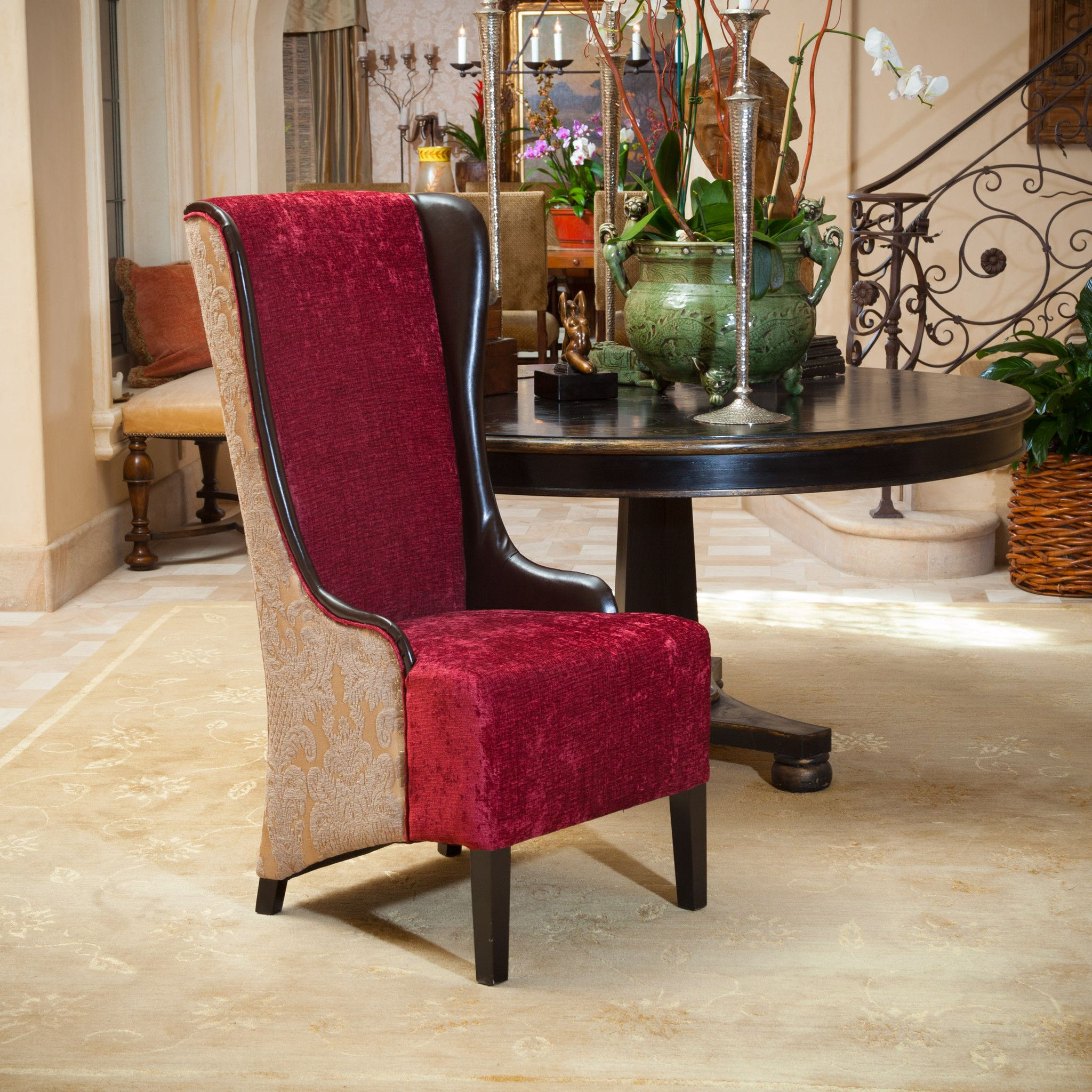 grant tall ruby fabric wingback chair | wingback chairs, chocolate