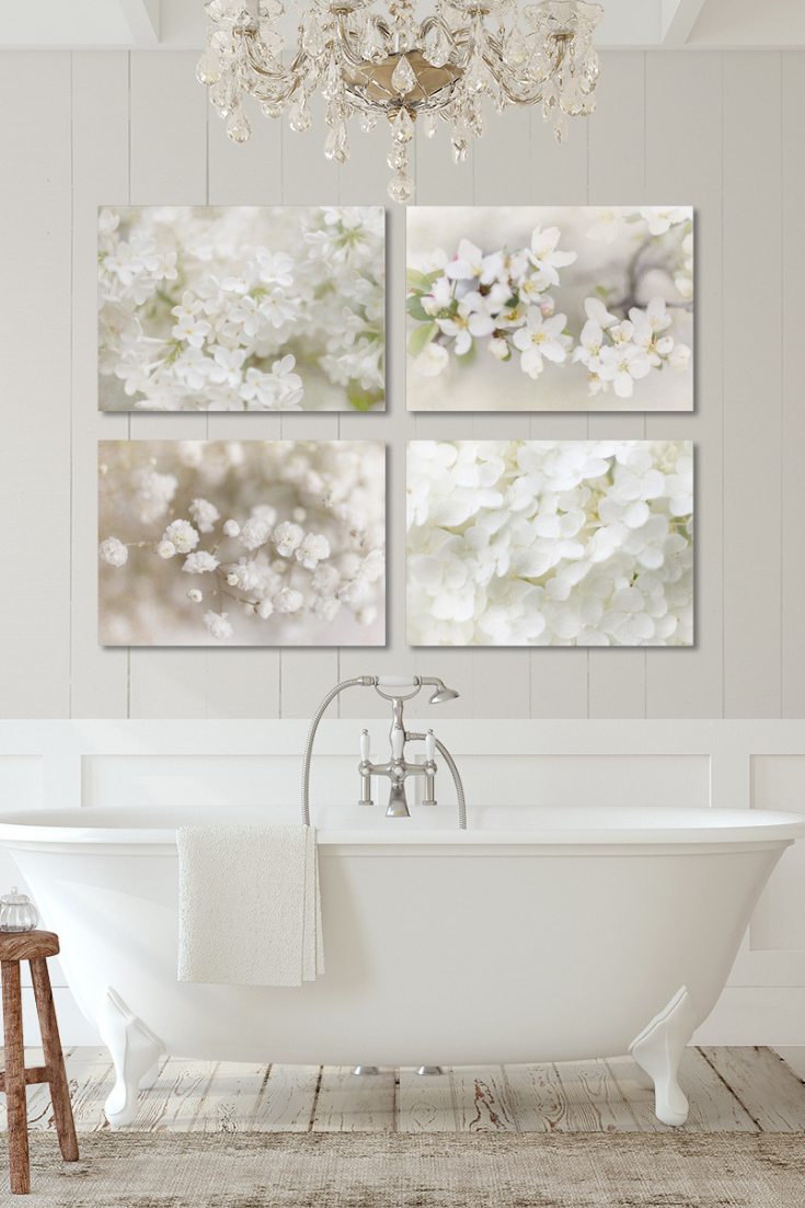 Romantic White Floral Print Set Shabby Chic Wall Art French Country Wall Art French Wall Art