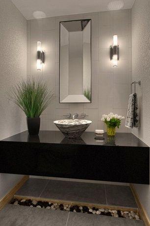 Contemporary Powder Room With Du0027vontz Free Form Natural Stone Vessel Sink,  Simple Granite