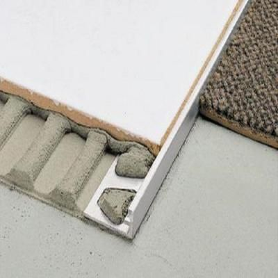 Schluter Schiene Aluminum 3 8 In X 8 Ft 2 In Metal L Angle Tile Edging Trim A100 The Home Depot Carpet To Tile Transition Tile Edge Tile Edge Trim