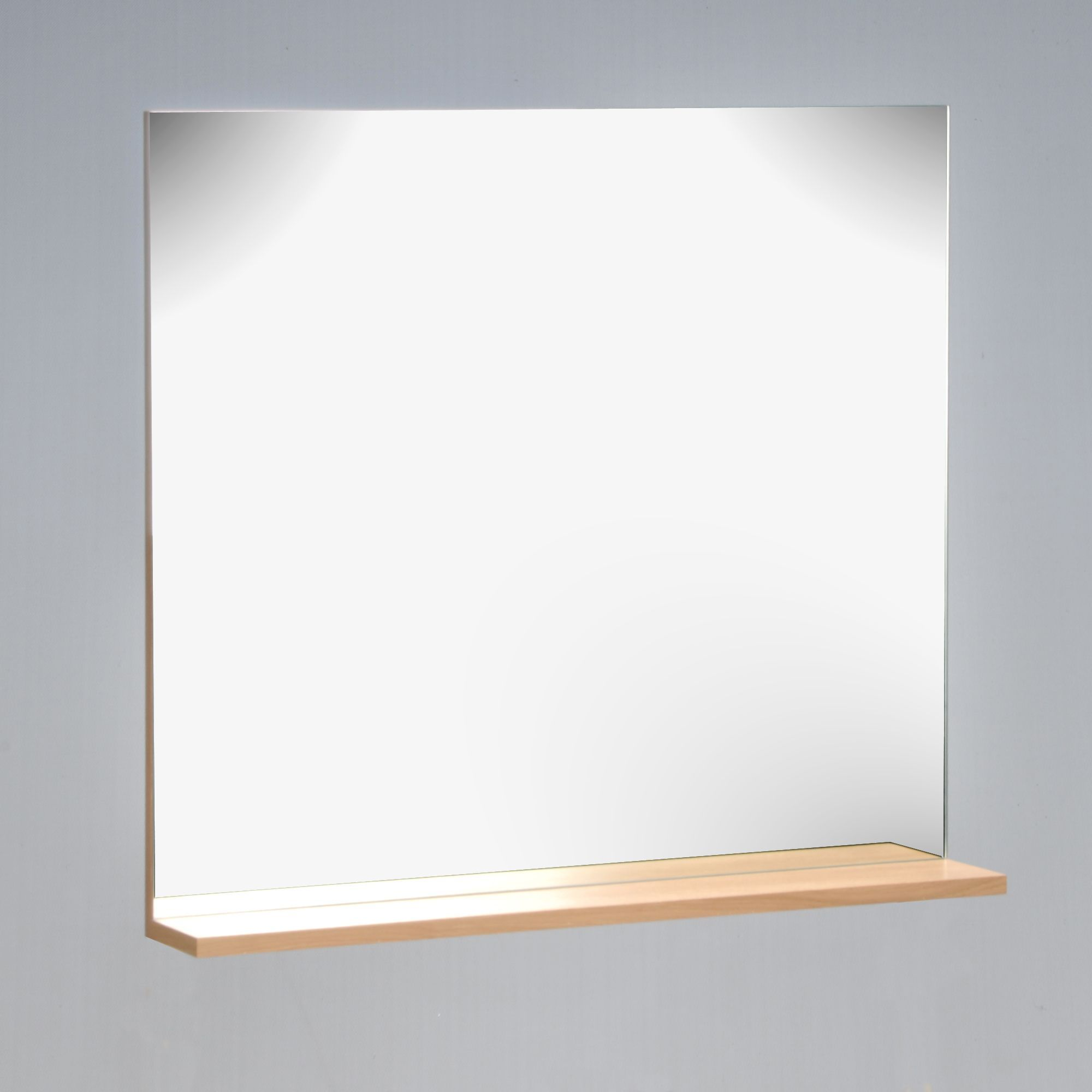 Miroir de salle de bain avec tablette en chêne | Miroir ...