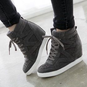 Gmarket - Two tone lace up velcro high top / platform / wedge he...
