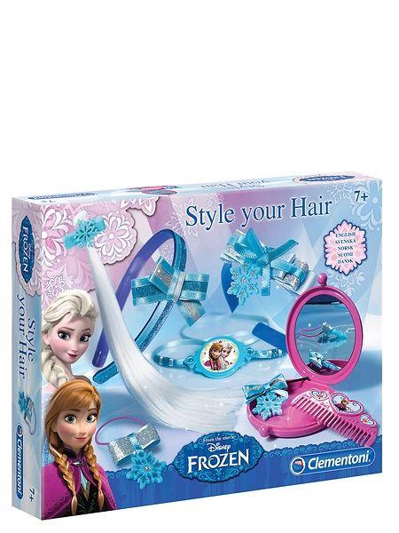 Frozen, Hiuskoristeet-askartelusetti sisältää ihania koristeita prinsessakampauksiin! sisältää hiuspidennyksen, hiusväriä ja hiuspannan sekä paljon tarvikkeita koristeluun. Ikäsuositus 7+