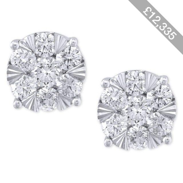 Effy Diamond Stud Earrings (1-5/8 ct. t.w.) in 14k White Gold