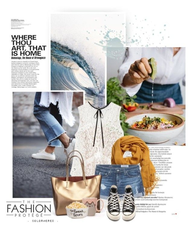 """Cold Water"" by color-me-red ❤ liked on Polyvore featuring Balmain, Emerson, Erdem, H&M, AG Adriano Goldschmied, Converse and Pusheen"