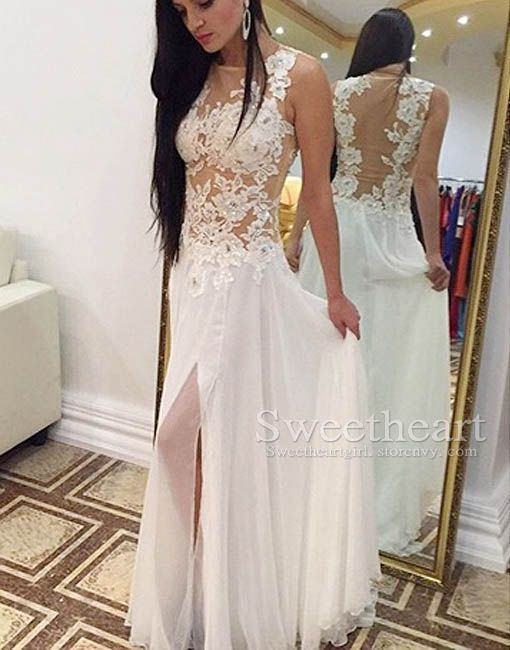 d94f564387a5 Simple Cute White A-line lace chiffon long prom dress for teens ...