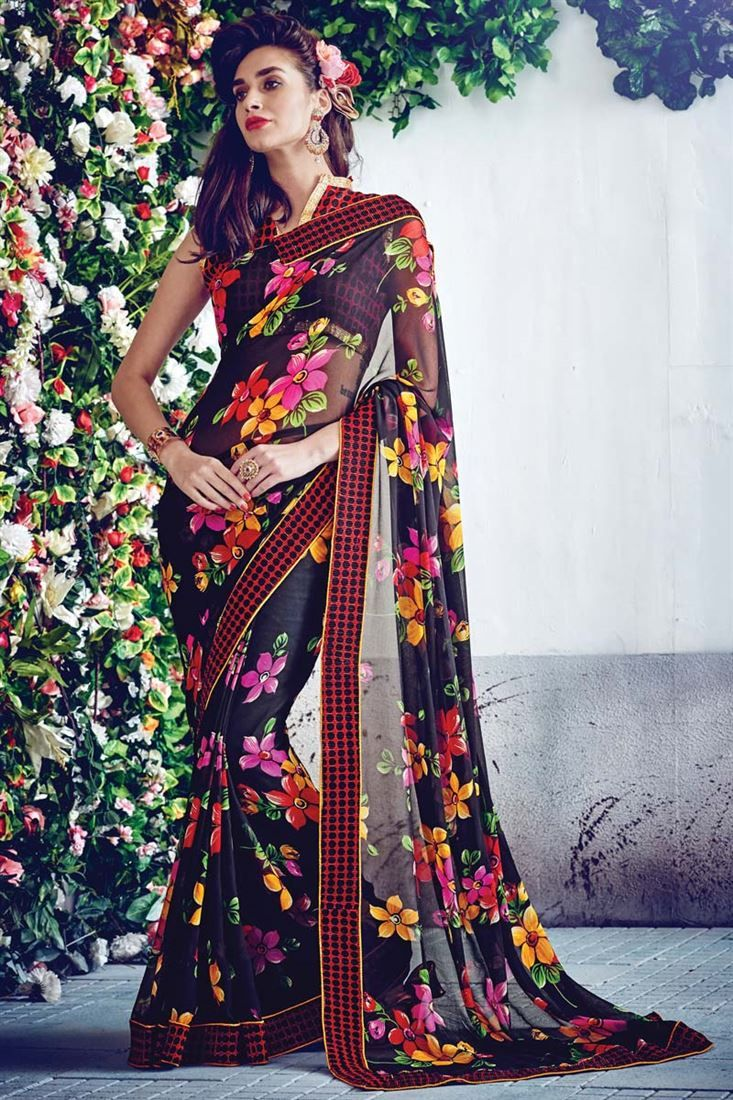 090ff69d2d Black Georgette Floral Print Fancy Saree - $21 | Printed Sarees ...