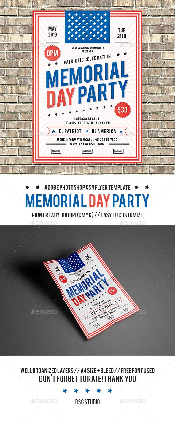 Memorial Day Party Flyer Template Psd Download Here Http