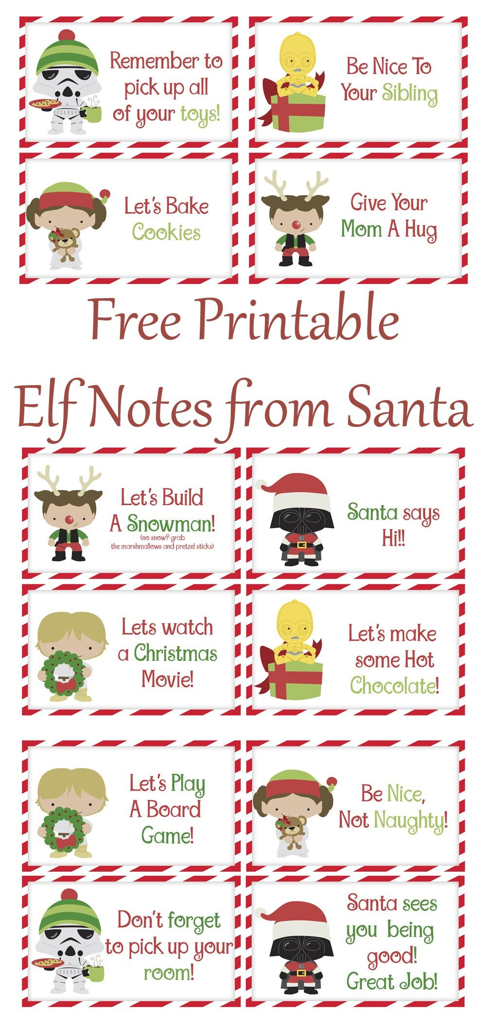 Free Printable Elf Notes from Santa Elf on the shelf