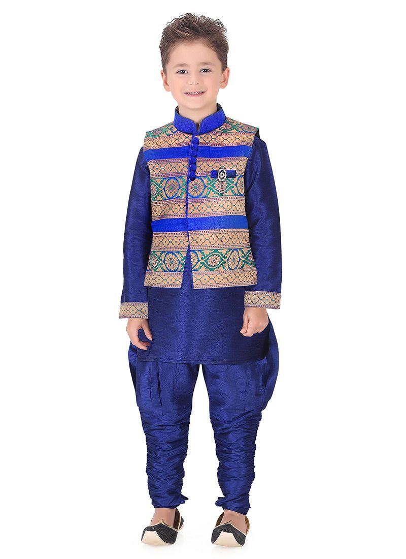 Fab blue jacket n breeches style kurta pyjama aadesh indian