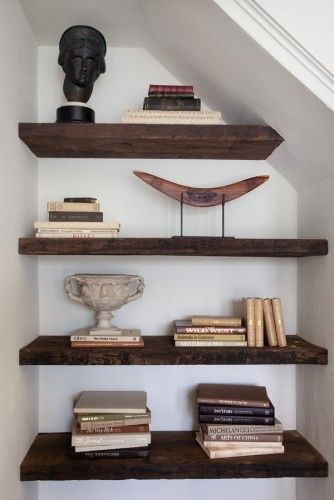 wood shelves on white wall