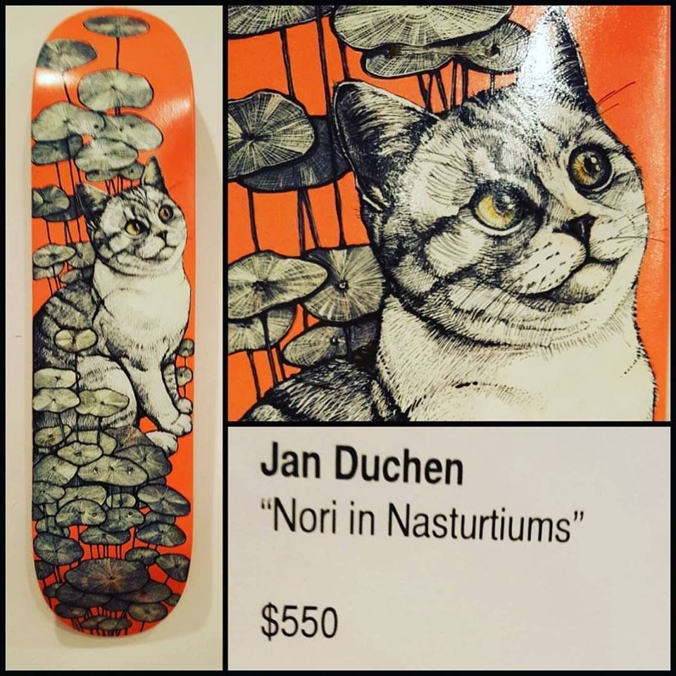 """Jan Duschen """"Nuri in Nasturtiums"""" original art skateboard deck"""
